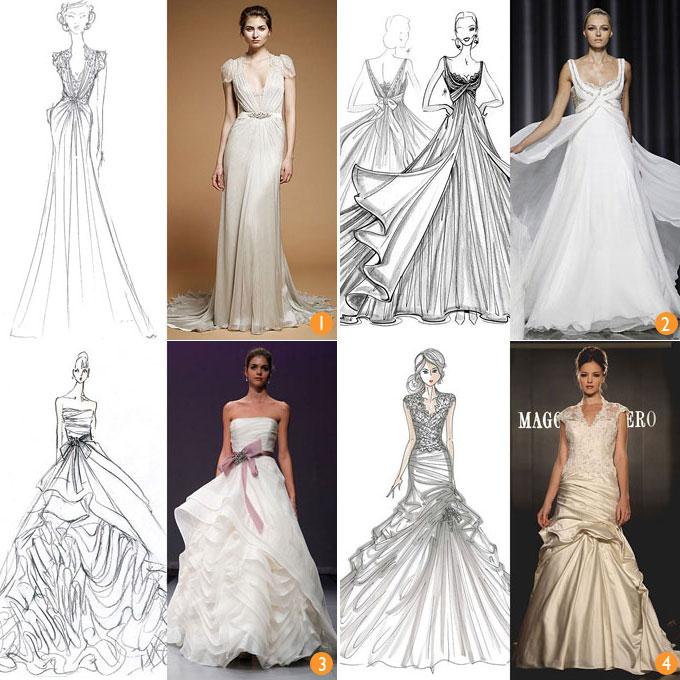 Des sketchs de robes de mariée et des chef-d'oeuvre