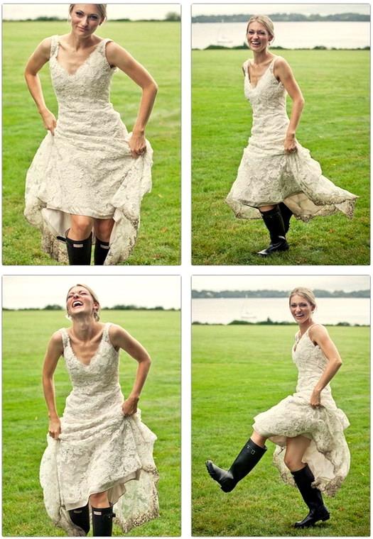 robe de mariage et bottes de pluie