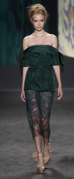 robes cocktail vertes foncées de collection Vera Wang 2012 printemps