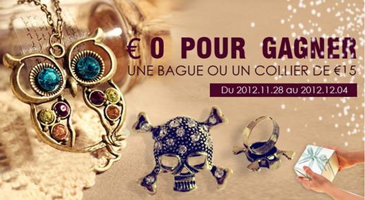 bague Crâne ou collier Hibou gratuit chez persun.fr