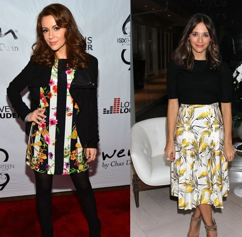 Alyssa Milano vs Rashida Jones portent robes à moitié impression
