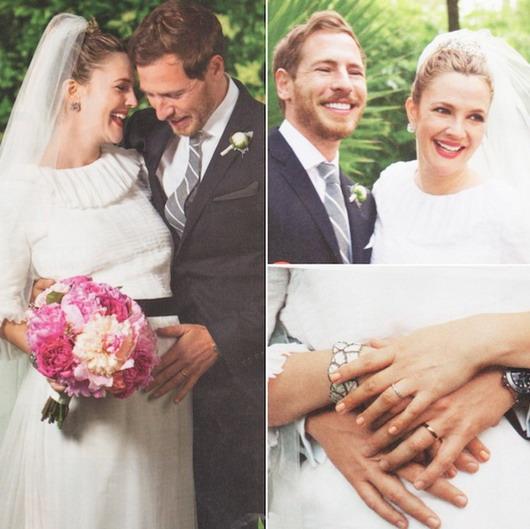Mariage de Will Kopelman & Drew Barrymore dans sa robe grossesse avec bouquet rond