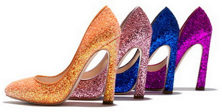 Quatre escarpin scintillant Miu Miu 2012 : Jaune, rose, bleu et violet