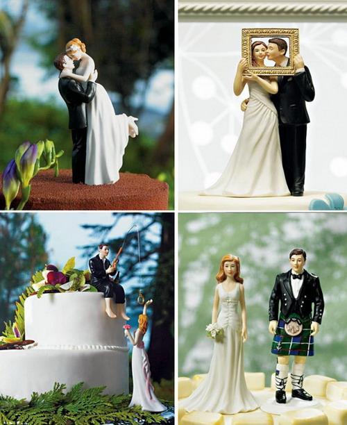 quatre figurines créatives pour un gâteau de noce