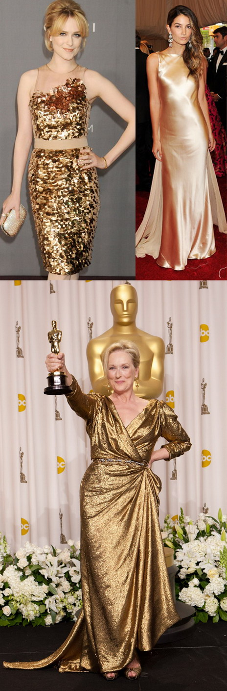 Meryl Streep gagne le prix Oscar dans une robe couleur or