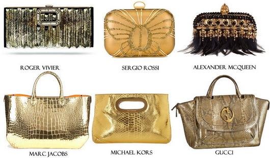 sacs à mains et pochettes dorées