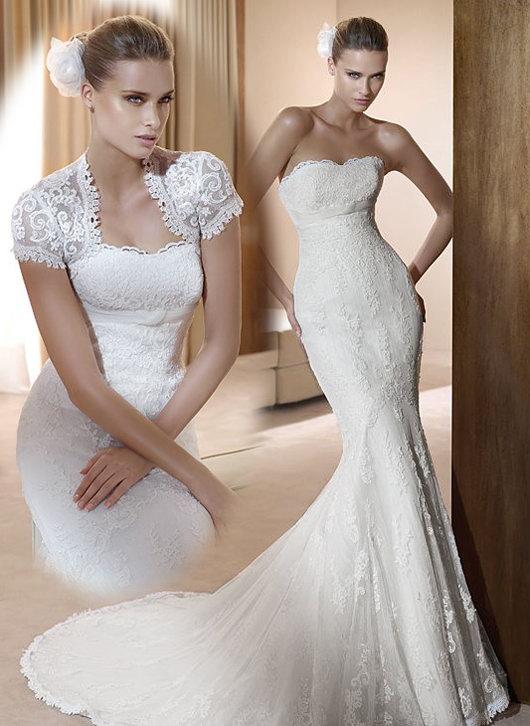 Robe de mariée en dentelle brodée sirène décolletée en coeur sans