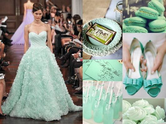 Mariage thème menthe : décoration, chaussure et macarons tout en vert