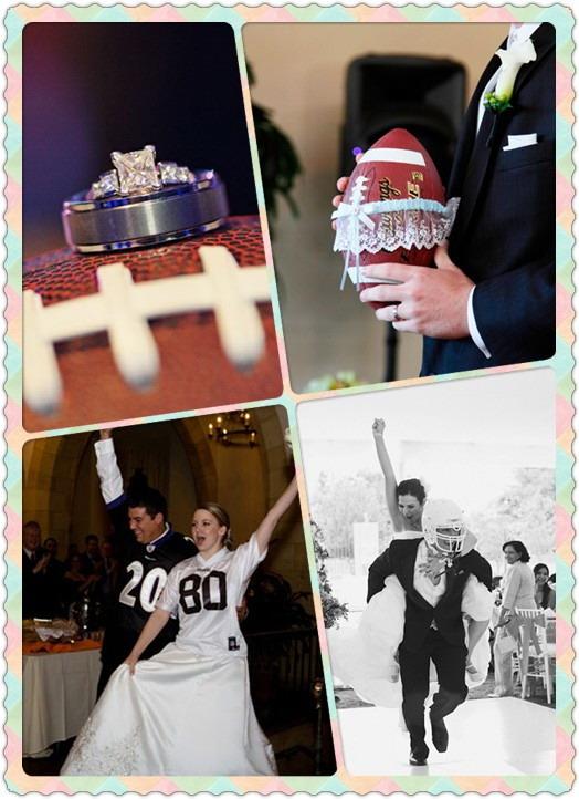 rugby entouré par jarretière, diamant sur le rugby, maillot de sport sur la tenue mariage, marié en casque