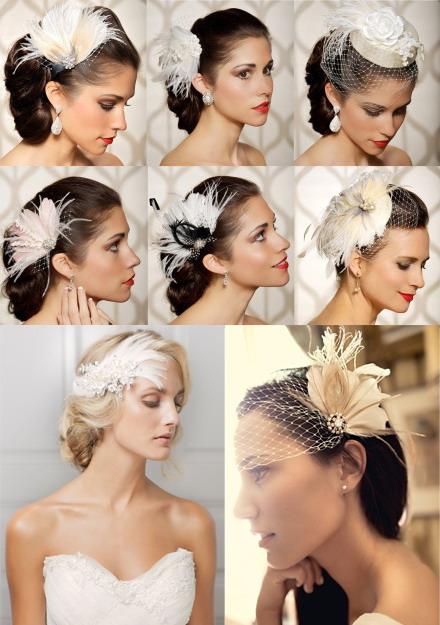 plume pour décorer la tête de la mariée