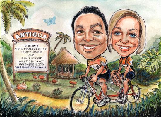 Caricature : idée pour invitation mariage sportif, cyclisme