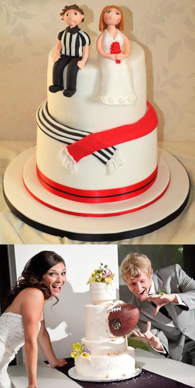 Gâteau de mariage sportif, ruban rayé noir, blanc et rouge et rugby dans un gâteau