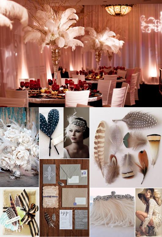 Les invitations en plume comme décoration mariage