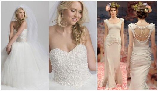 robe de mariage bustier avec un corsage de perles