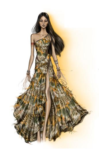 Une robe à encolure asymétrique et la fente latérale.