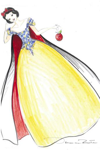 Croquis : Robe Neige blanche créé par Oscar de la Renta