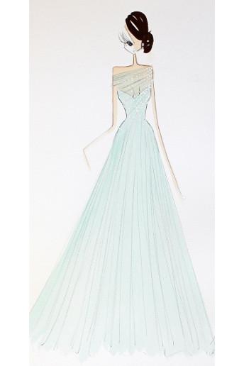 Croquis d'une robe en menthe créé par Ralph & Russo