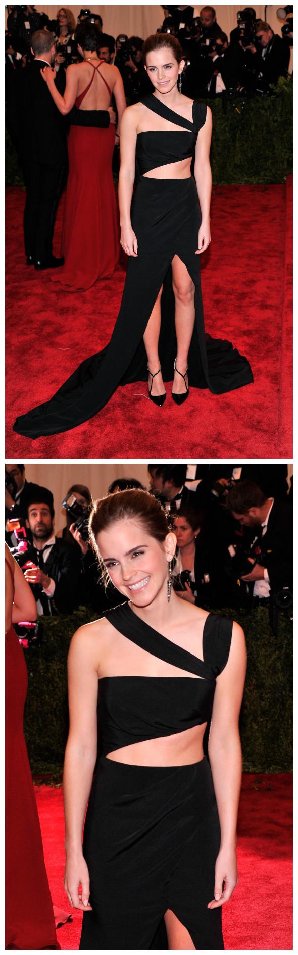 Emma Watson en robe asymétrique avec une paire d'escarpins noires et une boucle d'oreille brillant