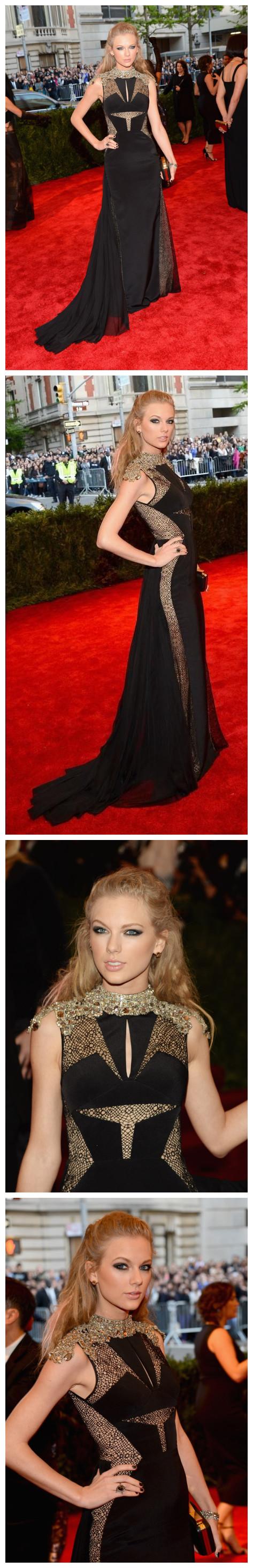 Taylor Swift porte une robe noire longue sur le tapis Met Ball 2013