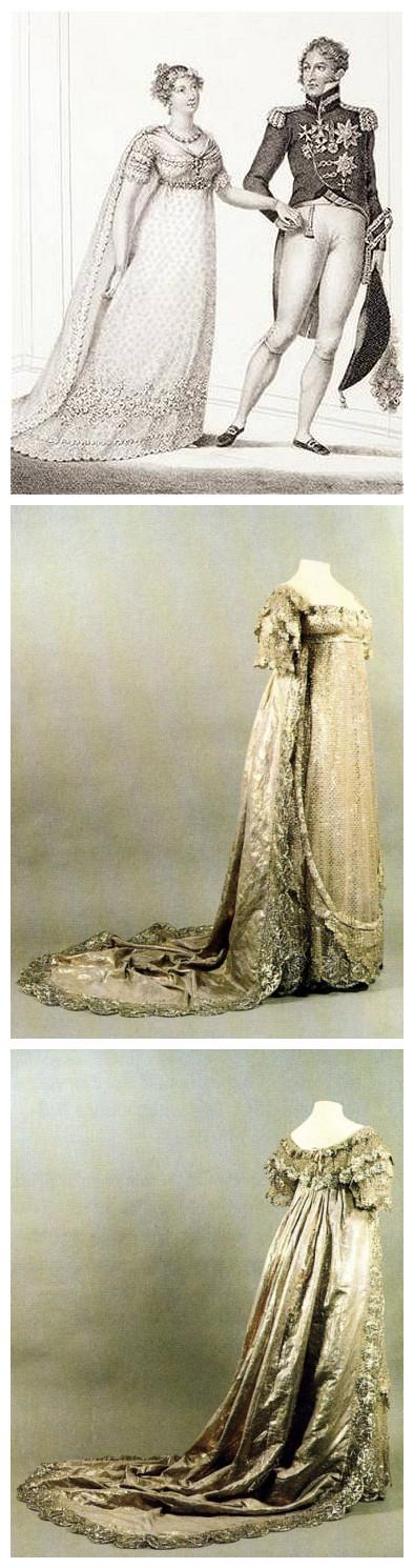 La princesse Charlotte avec sa robe de mariée scintillante.