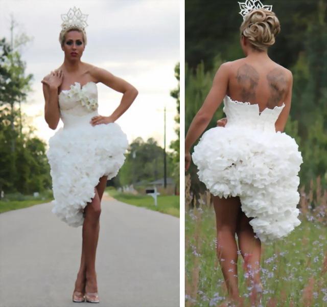 Robe de mariage en papiers toilette créée par Mimoza Haska
