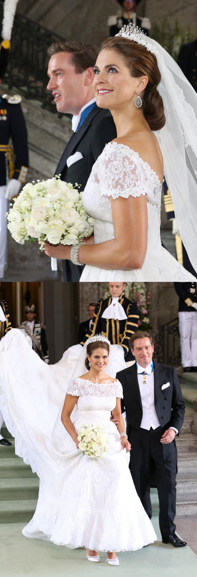 Madeleine porte une robe de mariée dentelle dotée d'une traîne longue signée par Valentino