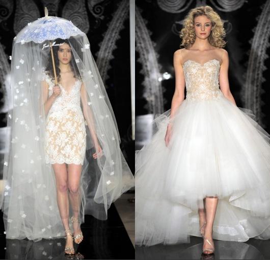 Robes mariage courtes en organza dentelles de Reem Acra, un mannequin porte une parapluie en voile fleur