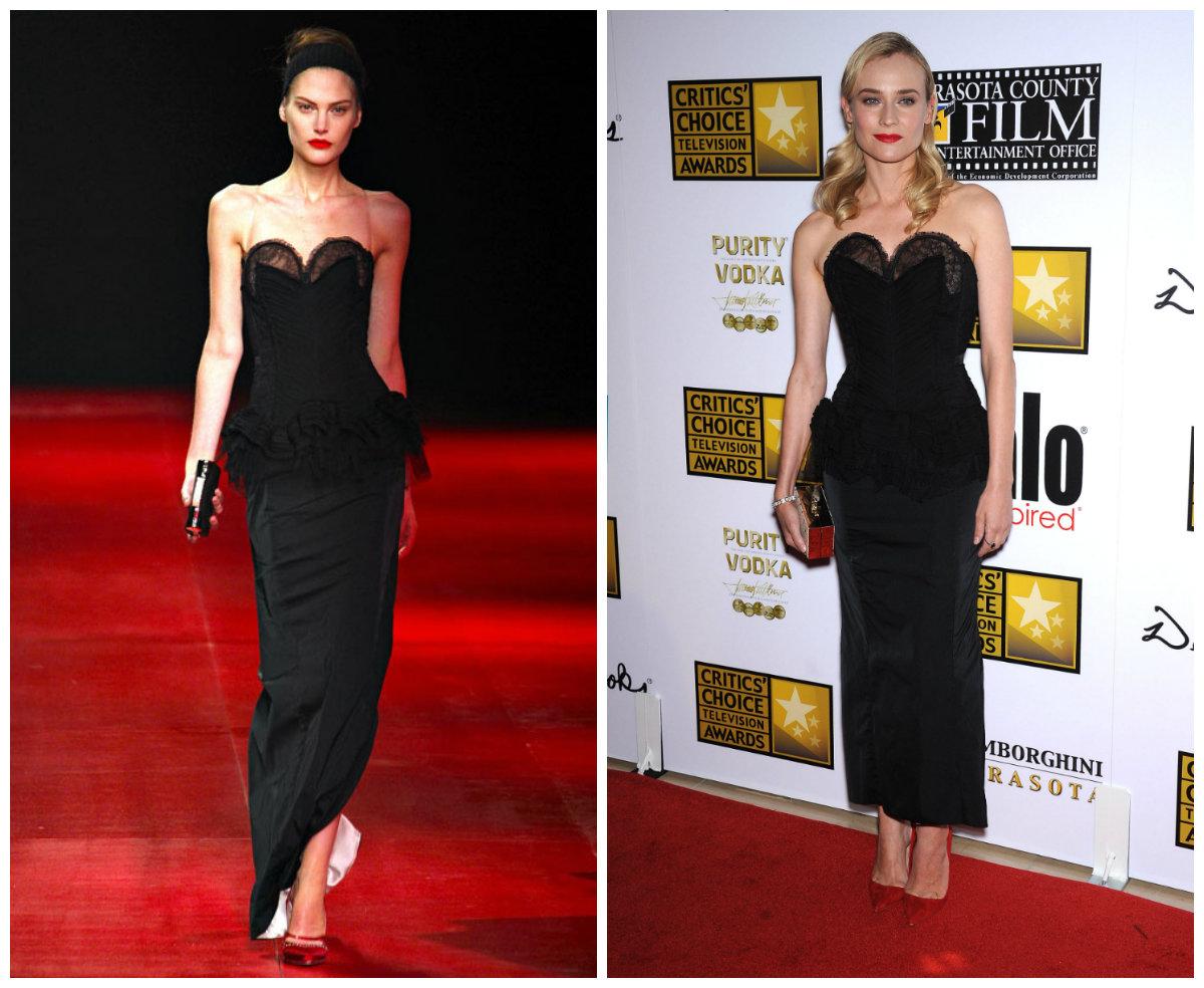 Diane Kruger dans une robe noire longue aux Critics' Choice Television Awards