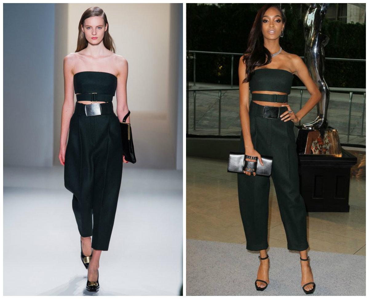Jourdan Dunn est vêtue d'une combinaison noire de la maison Calvin Klein