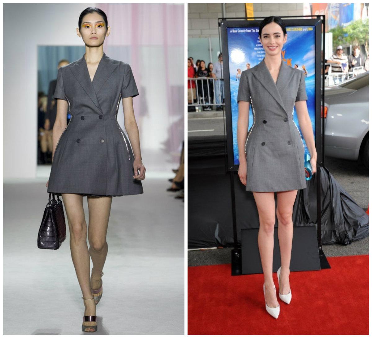 Krysten Ritter assiste à la première du film « The Way, way back » en portant une robe grise de Christian Dior