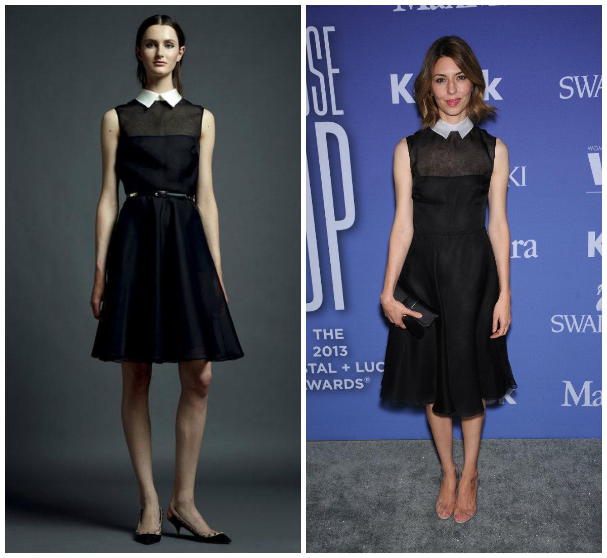 Sofia Coppola aux Women In Film Crystal + Lucy Awards en portant une robe noire courte de Valentino