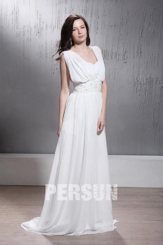 Robe de mariée vintage Empire encolure en V drappé sans manche à traîne Court