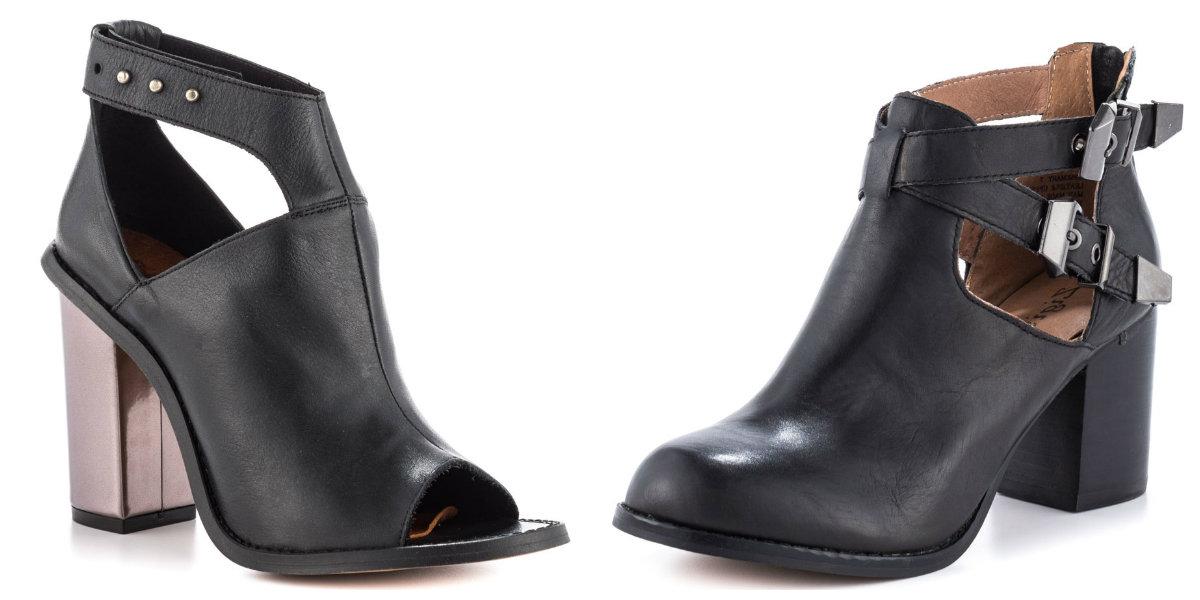 Boots à decoupes noire en cuir