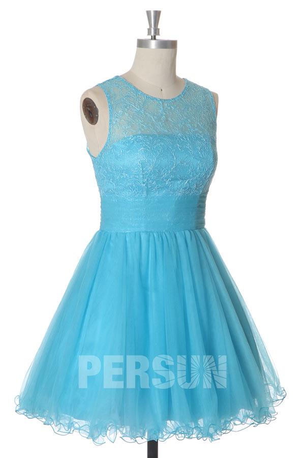 Robe de bal courte en tulle bleu turquoise