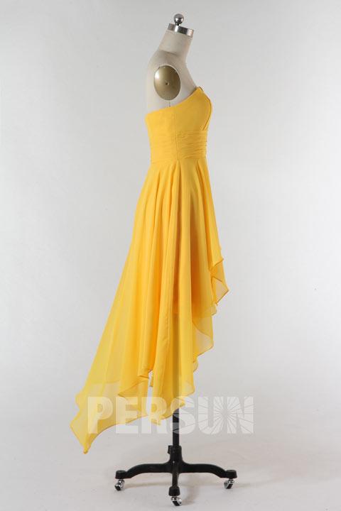 Robe jaune pour fête mariage courte devant longue derrière