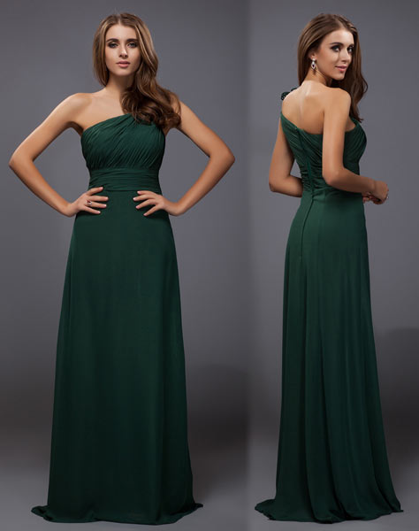 robe-pour-mariage-vert-sapin-epaule-asymetrique