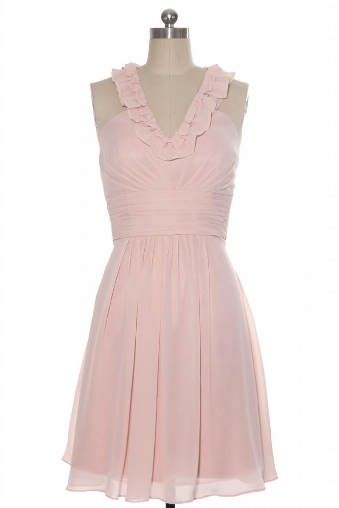 robe pour aller à un mariage en mousseline rose pâle