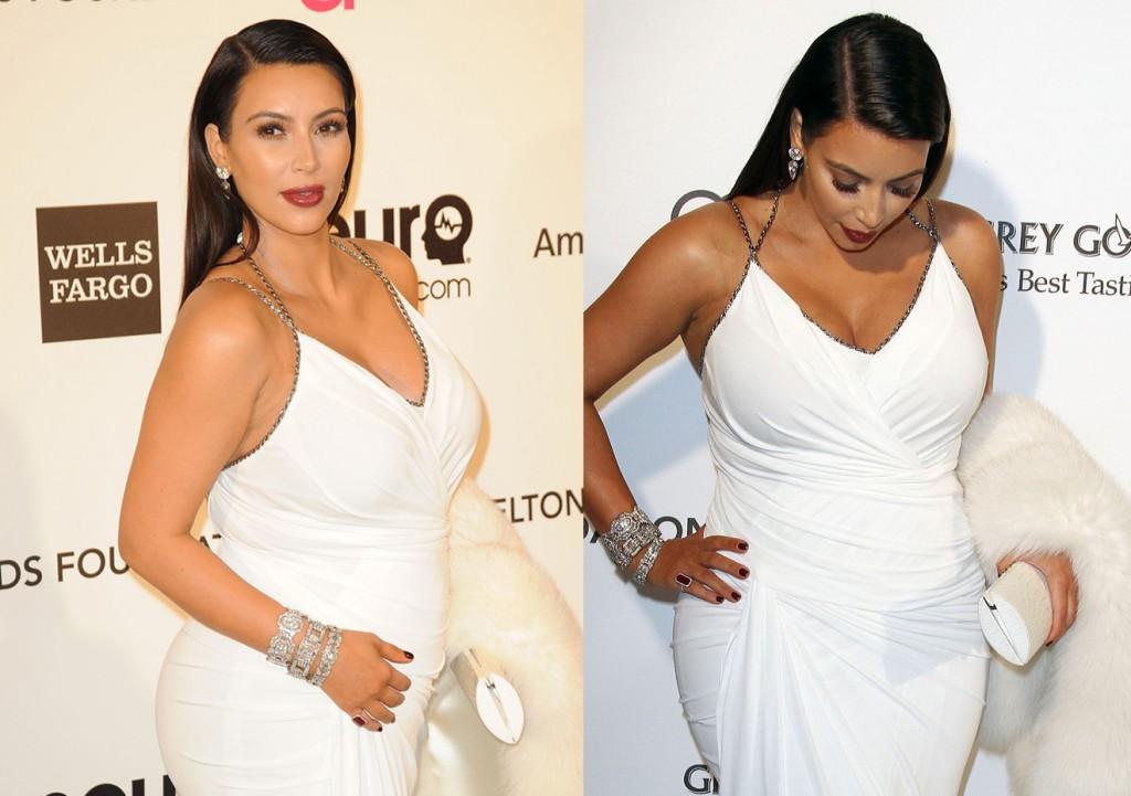 Kim Kardashian enfilait une robe blanche moulante