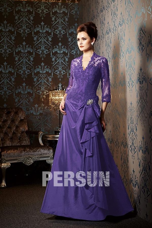 Robe de cérémonie violette pour personnes agées