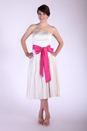 robe grande taille bustier satin ceinture nud papillon au ras du mollet - Robe Habille Pour Mariage Grande Taille