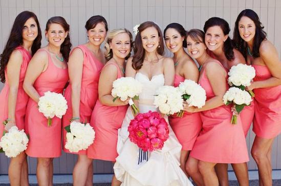 Robe rose corail courte pour demoiselles d'honneur