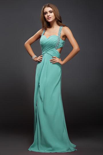 robe de soirée fendue verte