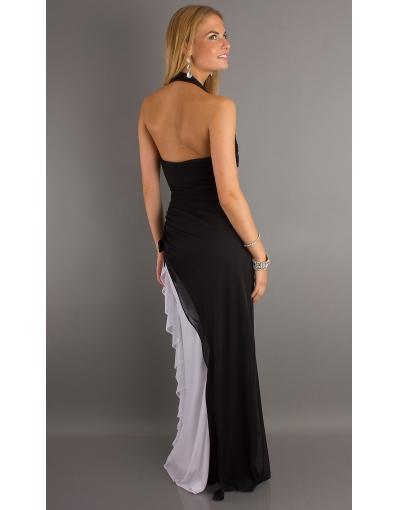 détails de dos de la robe de bal noire et blanche avec bretelle au cou de couleur en contraste