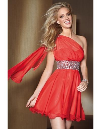 Courte robe de cocktail en Tencel rouge à A-ligne seule épaule ceinture ornée de strass