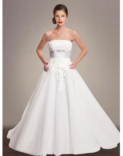Robe de mariée à A-ligne en organza et dentelle avec ruban