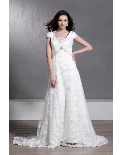 Robe de mariée vintage luxueuse à Ligne-A à manches courtes encolure en V à traîne Chapel avec appliques