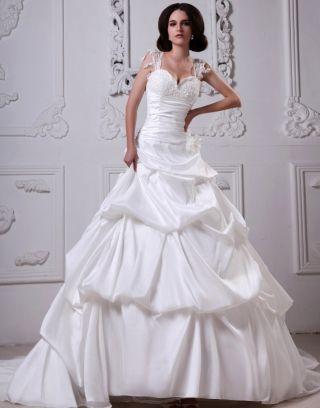 Robe de mariée moderne bustier décolleté en cœur ornée de applique, fleur faite à la main