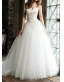 Robe de marie en tulle brod  trane Chapelle  A-ligne dcollete en coeur sans bretelle