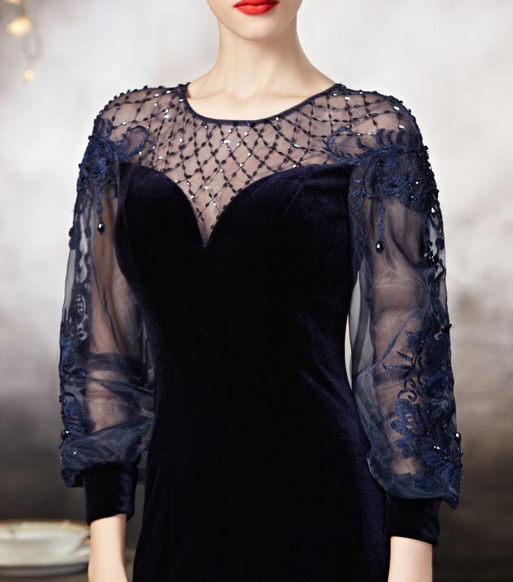 robe bleu nuit pour soir e en tissu velours manche semi transparente. Black Bedroom Furniture Sets. Home Design Ideas