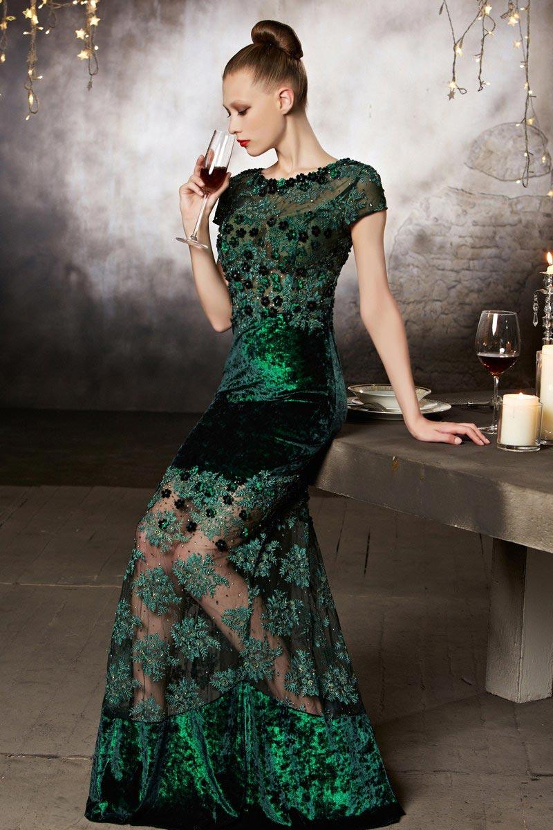 robe de soirée semi-transparente en velours